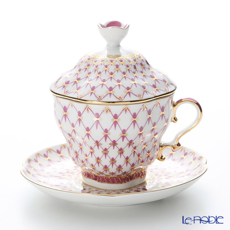 Imperial Porcelain Blues Pink Net Covered Cup with saucer 8.45 oz / 250 ml