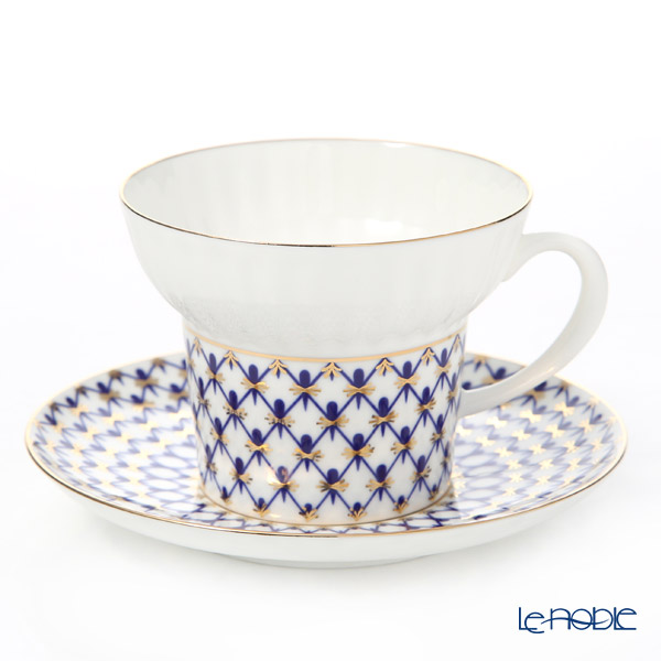 Imperial Porcelain / Lomonosov 'Cobalt Net Blue - Wave' Cup & Saucer, Plate (set of 2 for 1 person)