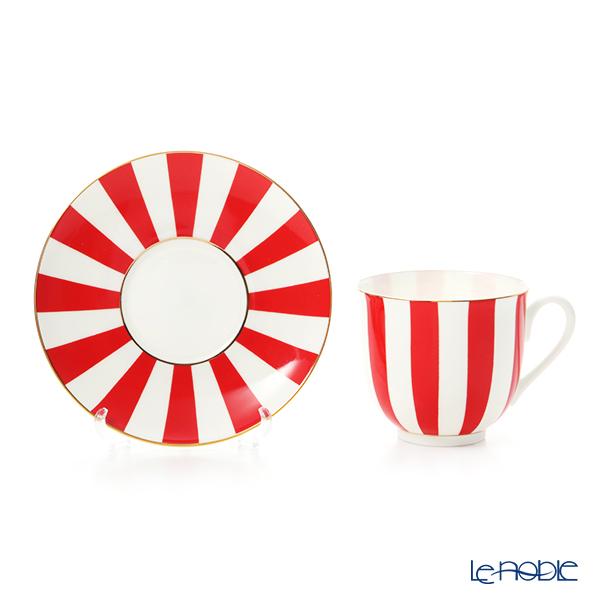 Imperial Porcelain / Lomonosov 'Stripe' Red Cup & Saucer 180ml