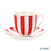Imperial Porcelain / Lomonosov 'Stripe' Red Cup & Saucer 180ml