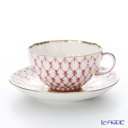 Imperial Porcelain Blues Pink Net Tea Cup with Saucer 8.45 oz / 250 ml