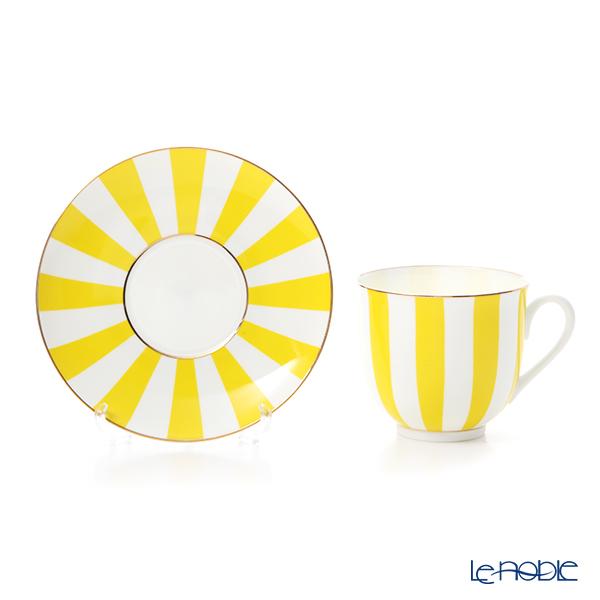 Imperial Porcelain / Lomonosov 'Stripe' Yellow Cup & Saucer 180ml