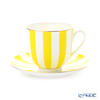 Imperial Porcelain / Lomonosov 'Stripe' Yellow Cup & Saucer 180ml