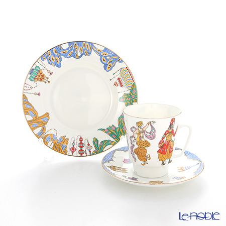 Imperial Porcelain / Lomonosov 'Ballet - Schaherazada - May' Tea Cup & Saucer, Plate (set of 2 for 1 person)