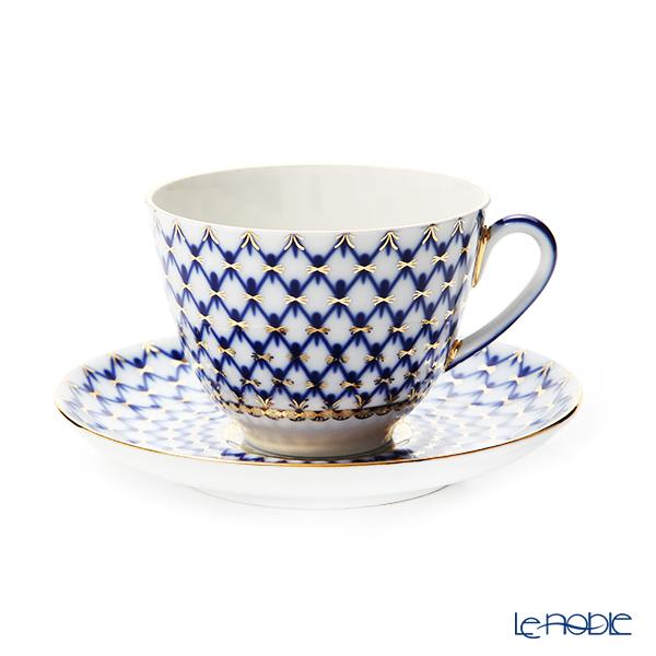 Imperial Porcelain / Lomonosov 'Cobalt Net - Spring' Tea Cup & Saucer 250ml