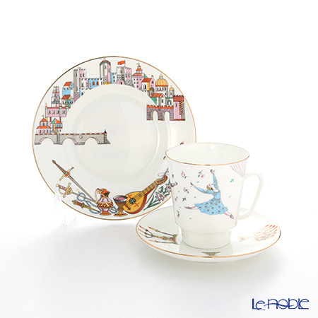 Imperial Porcelain / Lomonosov 'Ballet - Romeo & Juliet - May' Tea Cup & Saucer, Plate (set of 2 for 1 person)