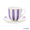 Imperial Porcelain / Lomonosov 'Stripe' Purple Cup & Saucer 180ml