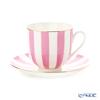 Imperial Porcelain / Lomonosov 'Stripe' Pink Cup & Saucer 180ml