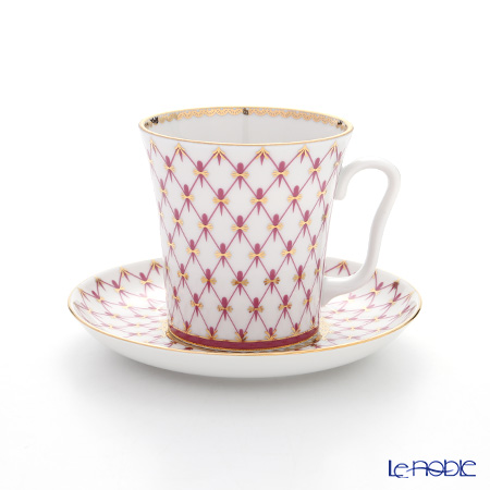 Imperial Porcelain Blues Pink Net Leningrad Mug with Saucer 360 ml