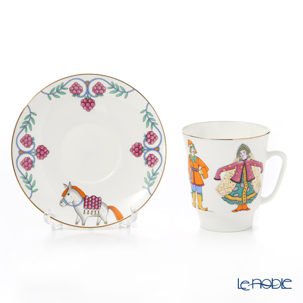 Imperial Porcelain / Lomonosov 'Ballet - Little Humpbacked Horse - May' Tea Cup & Saucer, Plate (set of 2 for 1 person)