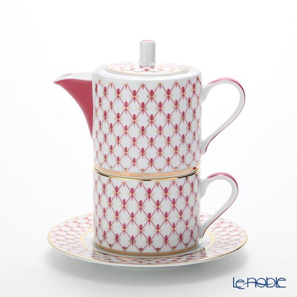 ロシア食器 インペリアル・ポーセリン ブルース(ピンクネット) ティーフォーワン