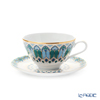 Imperial Porcelain / Lomonosov 'Gothic' Blue Green Tea Cup & Saucer 160ml