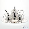 Hayakawa Silver 'Chrysanthemum Decor - Rose' 06-11 [Clear Light Silver] Tea Pot, Sugar Pot with Ladle, Creamer, Oval Tray (set of 4)