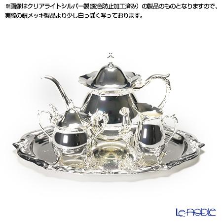 【銀メッキ製品】早川シルバー ローズティーセット 5人用 05-60