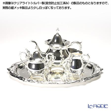 【銀メッキ製品】早川シルバー ローズティーセット 2人用 06-20