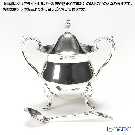 【銀メッキ製品】早川シルバー ローズシュガーポット(レードル付き) 06-60