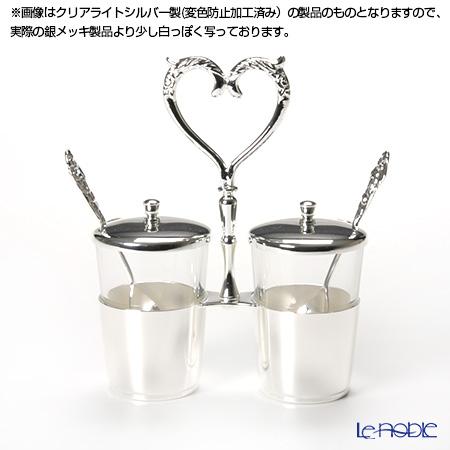 Hayakawa Silver 'Server' 13-70 [Silver Plated] Jam / Sugar Holder with Spoon (Heart)