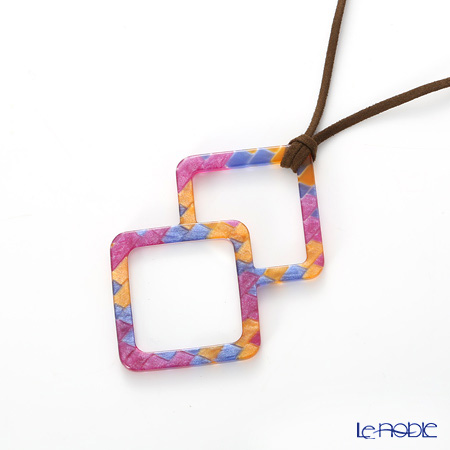 KISSO / Sabae 'Double Square' Pink Blue Yellow Necklace Loupe