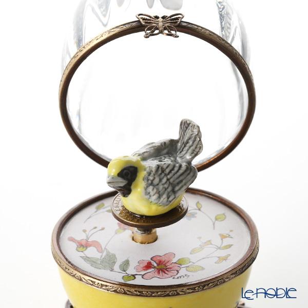 リモージュボックス/エッグボックス クリスタル イエロー 小鳥 (オルゴール付:アベマリア/シューベルト)