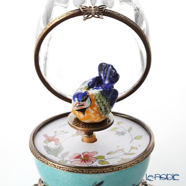 リモージュボックス/エッグボックス クリスタル ターコイズ 小鳥 (オルゴール付:ロミオとジュリエット/シュトラウス)