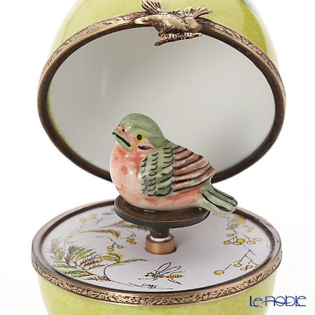リモージュボックス/エッグボックス リモージュ グリーン 鳥 (オルゴール付:アベマリア/シューベルト)