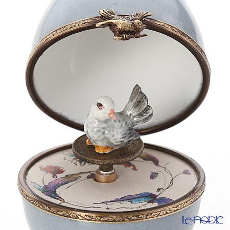 リモージュボックス/エッグボックス リモージュ グレイ 鳥 (オルゴール付:花のワルツ/チャイコフスキー)