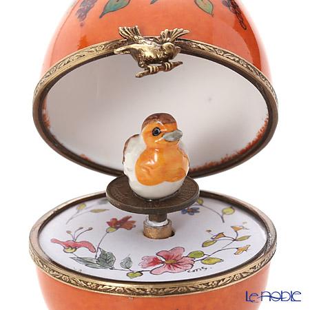 リモージュボックス/エッグボックス リモージュオレンジ 鳥 (オルゴール付:魔笛/モーツァルト)