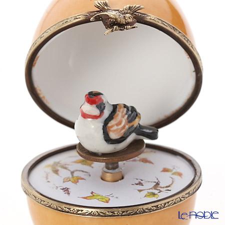 リモージュボックス/エッグボックス リモージュ ベージュ 鳥 (オルゴール付:花のワルツ/チャイコフスキー)