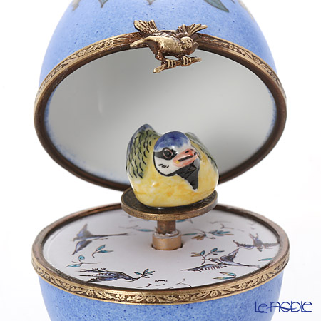 リモージュボックス/エッグボックス リモージュ ブルー 鳥 (オルゴール付:白鳥の湖/チャイコフスキー)