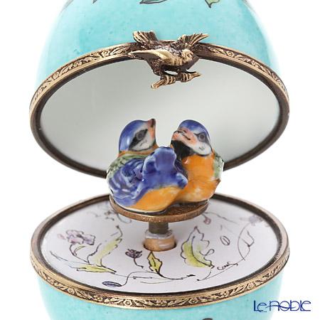 リモージュボックス/エッグボックス リモージュターコイズ 2羽の鳥 (オルゴール付:ばら色の人生)