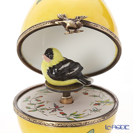リモージュボックス/エッグボックス リモージュ イエロー 鳥 (オルゴール付:水上の音楽/ヘンデル)