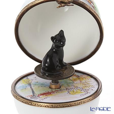 リモージュボックス/エッグボックス リモージュモンマルトル ネコ (オルゴール付:ばら色の人生)