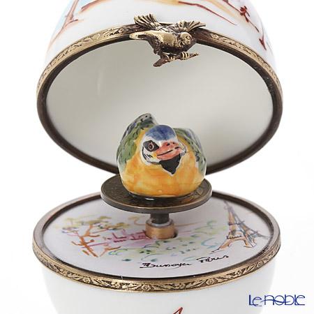 リモージュボックス/エッグボックス リモージュ シャンゼリゼ通リ 鳥 (オルゴール付:ばら色の人生)