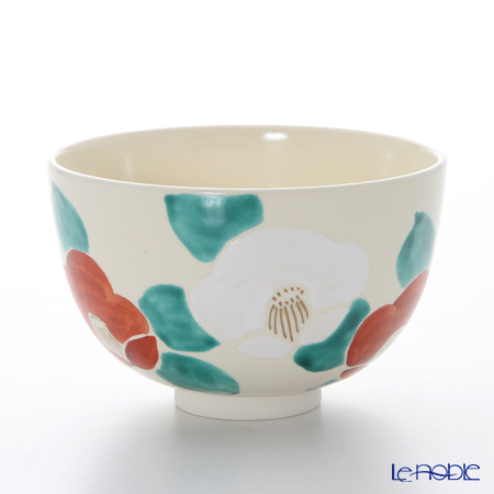 京焼・清水焼 抹茶碗 K0013 彩紅白椿
