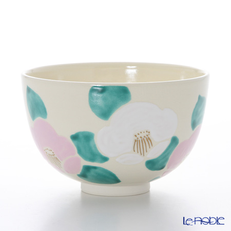 Kyo ware / Kiyomizu ware Camellia Pink&White K0014 Matcha Bowl 480ml