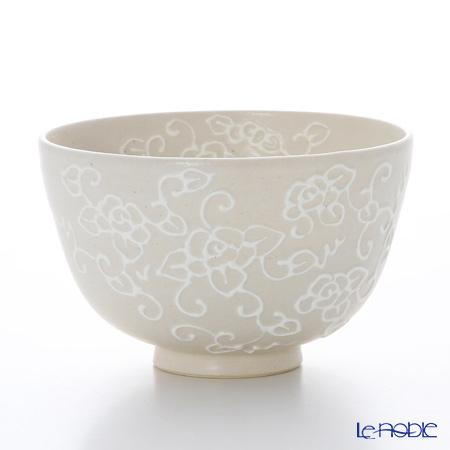 京焼・清水焼 抹茶碗 K0017 白一珍薔薇