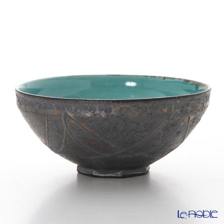 京焼・清水焼 平茶碗 M0027 黒金彩蒼釉