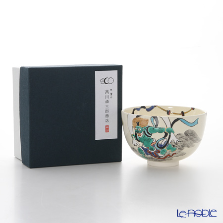 Kyo ware / Kiyomizu ware 'Fujin Raijin' S0039 Matcha Bowl 480ml