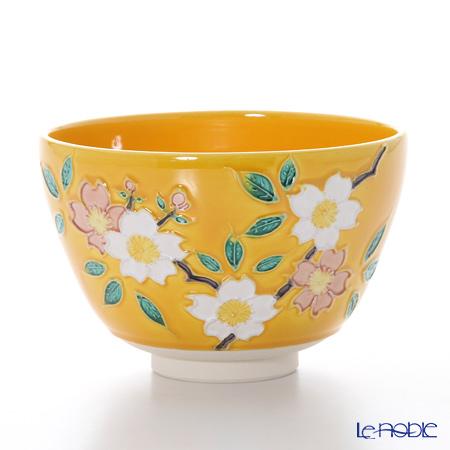 T. Nishikawa & Co. Inc - Kyoto ware / Kiyomizu ware  Matcha Bowl, Cochin Cherry Flower YL, K0061