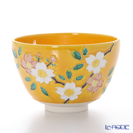 京焼・清水焼 抹茶碗 K0061 黄交趾桜