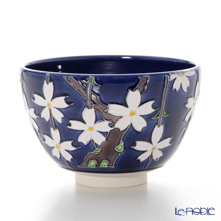 京焼・清水焼 抹茶碗 K0062紺交趾枝垂れ桜