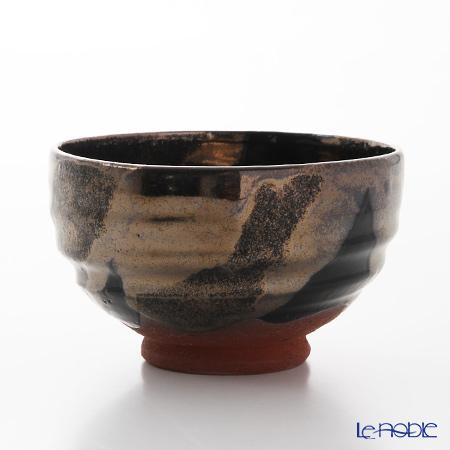 Kyo ware / Kiyomizu ware 'Kuro Ginsai' S0073 Matcha Bowl