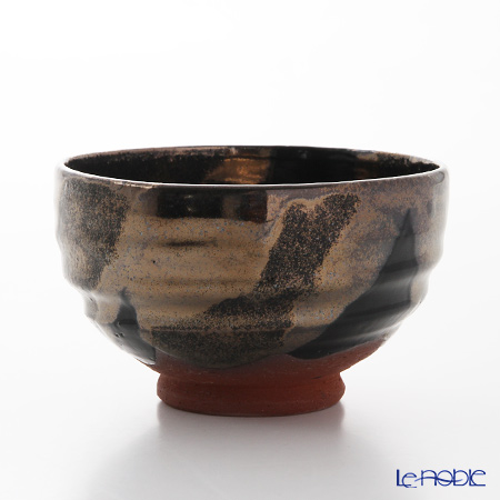 T. Nishikawa & Co. Inc - Kyoto ware / Kiyomizu ware  Matcha Bowl, Kuro Ginsai, S0073