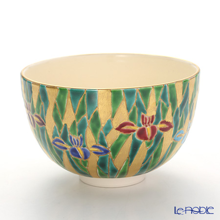 Kyo ware / Kiyomizu ware 'Gilded(Gold) Iris' K0007 Matcha Bowl 480ml