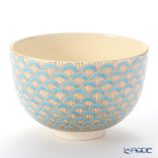 Kyo ware / Kiyomizu ware 'Seigaiha' Blue K0096 Matcha Bowl 480ml