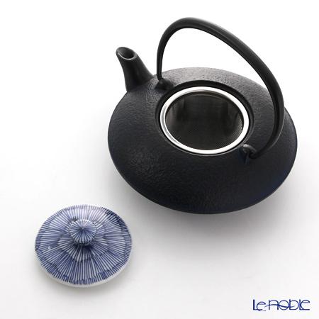 Kyo ware / Kiyomizu ware 'Sometsuke Blue Kikyo Tokusa' T0107 Iron Tea Pot (S) 410ml