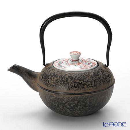 京焼・清水焼 鉄瓶急須・黒 K0111彩赤絵 500ml