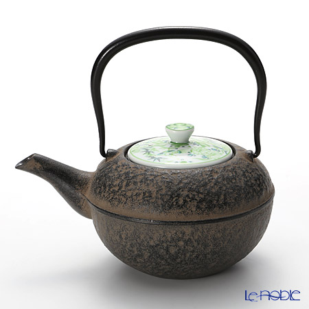 京焼・清水焼 鉄瓶急須・黒 K0112 彩青絵 500ml