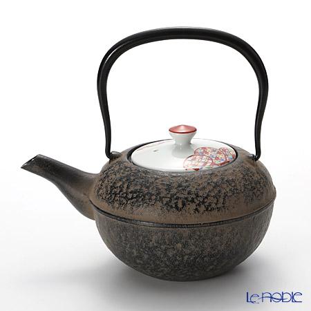 京焼・清水焼 鉄瓶急須・黒 K0116 彩色雲小紋 500ml