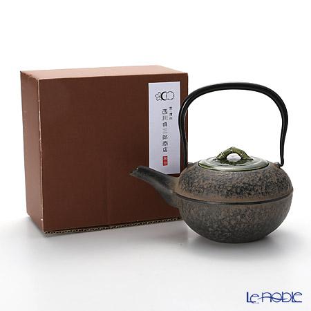 Kyo ware / Kiyomizu ware 'Green Bamboo' M0122 Iron Tea Pot Black 500ml